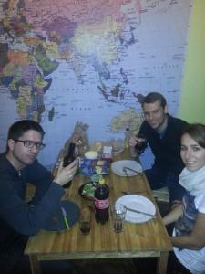 Abendessen im Hostel Midland in Bukarest