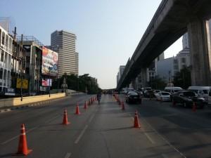 Autofreie Straße wegen den Protesten
