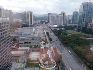 Blick auf Shenzhen aus dem Hostel