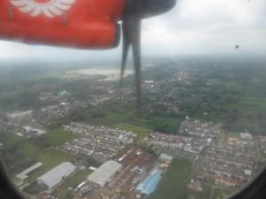 Landeanflug in Malang