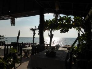Ausblick aus unserem Restaurant aufs Meer