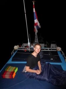 Unser windiger Schlafplatz auf der Spitze des Schiffs