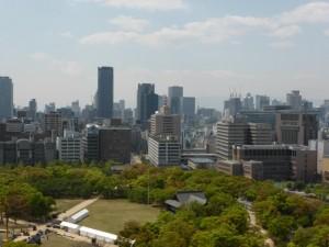 Ausblick von der Burg auf Osaka