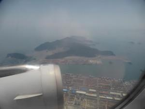 Flug über den Hafen in Busan