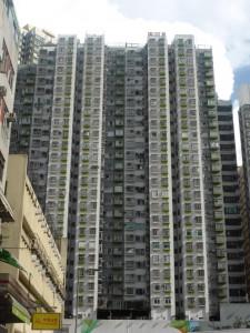 Typischer Wohnblock in Mong Kok